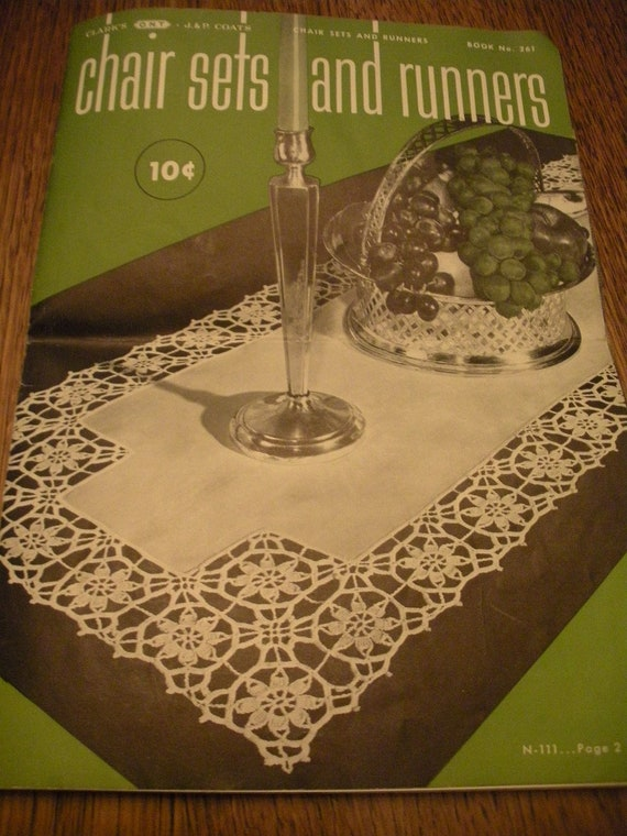 Vintage Crochet Pattern Booklet from 1949  Chair Sets and Runners