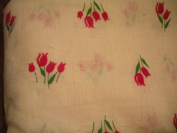 Vintage Red Flocked Tulip Fabric 1 yard plus
