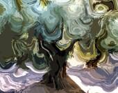 Landscape, Abstract Art, Modern Art,  Art Print, Home Wall Decor, Archival Fine Art Print, Trees, Home Decor, Gift, Giclee,