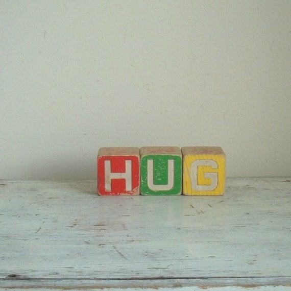 vintage wooden HUG disney blocks