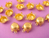 24 Brass Round Prong Settings 40SS 8mm 2 Ring closed Back connector