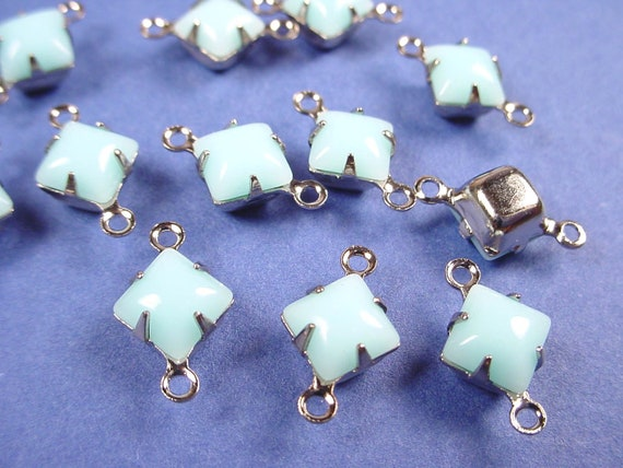 8 Vintage Light Blue  Calcedon Square Glass Connector Charms 2 Ring 6mm SILVER