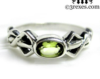 Pixie Friendship Ring Silver Celtic Knot Green Peridot Stone Size 7