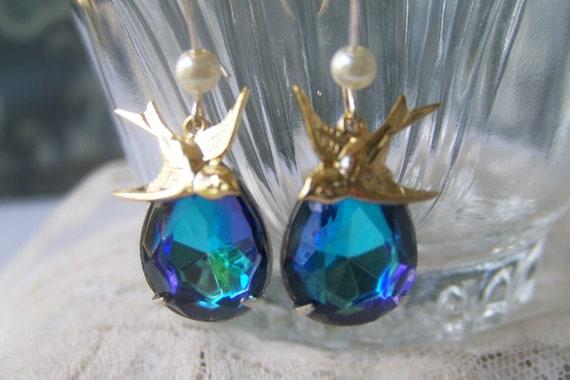 Jewel Bird Charm Earrings, sparkly jewel set in silver