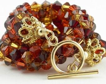 14k Gold and Crystal Bracelet in Red, Orange, Brown, Gold