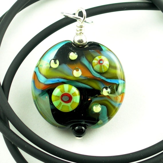 Lampwork Glass Pendant Necklace in Black, Orange, Turquoise and Lime