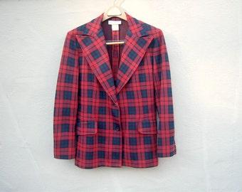 Vintage prep school plaid blazer / Rushmore red blue tartan plaid jacket / medium 8-10
