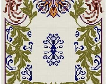 Chrysanthemum cross stitch pattern PDF  Art Nouveau