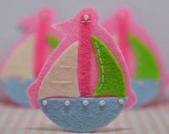 Set of 6pcs handmade felt boat--baby pink/aspen blue (FT944)