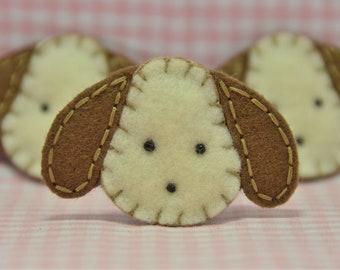 Set of 6pcs felt puffy dog head--chocolate (FT242)