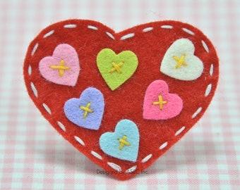 Set of 6pcs handmade felt heart---devil red (FT820)