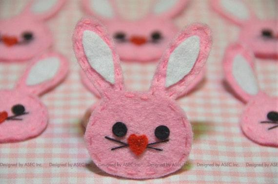 Set of 6pcs Handmade felt bunny--baby pink (FT888)