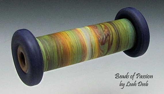 Handmade Glass Focal Bead Lampwork - Earthy Tie Dye n Navy Blue Cylinder