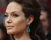 "Angelina Jolie Inspired Emerald Green Onyx Stone Gold Dangle stud Earrings 2"" Original Size"