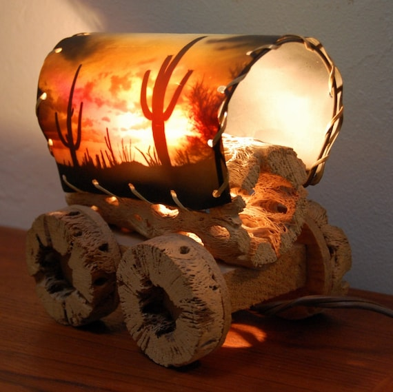 Vintage Cactus Covered Wagon Lamp Western