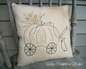 Primitive Hand Stitched Fall Pillow, Harvest, Pumpkin, Crow,