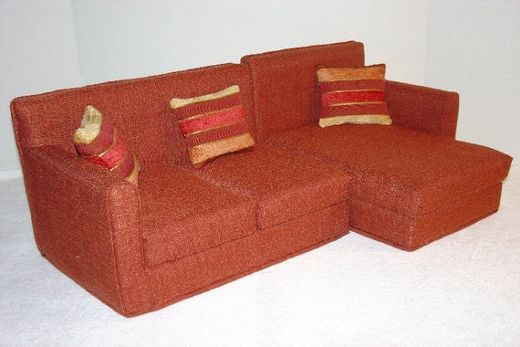 18 Inch Sectional Doll Sofa Rust Color L Shaped Doll