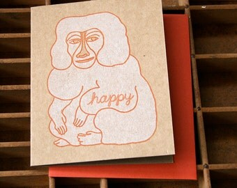 letterpress monkey happy card