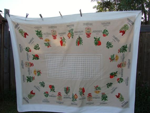 Vntage Herbs Herb Print Tablecloth