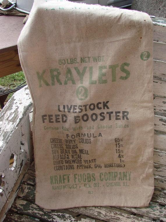 Vintage Muslin KRAYLETS Livestock Feed Booster Bag Feedsack