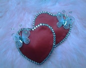 Heart Shaped Red Satin Butterfly Burlesque Nipple Pasties