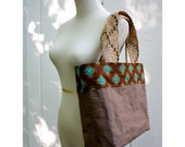 CARTA Tote Bag in Chocolate with Jute Handles - HuzzahHandmade