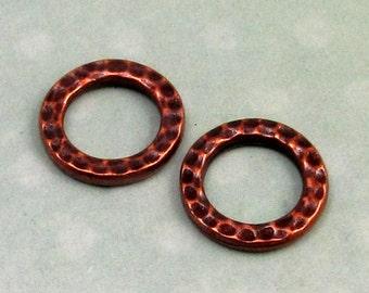 TierraCast Hammertone Medium Round Link, Antique Copper 2-Pc. TC24