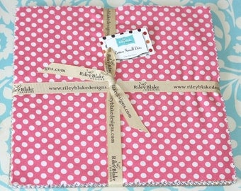 SALE 14 squares Cotton SMALL Dots 10 inch Stacker by Riley Blake