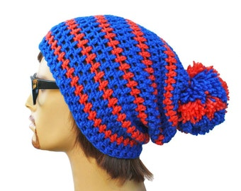 Crochet Slouch Puffball Beanie Mens or Unisex - Ultimate Slacker Striped Beanie Hat- Blue Orange Striped