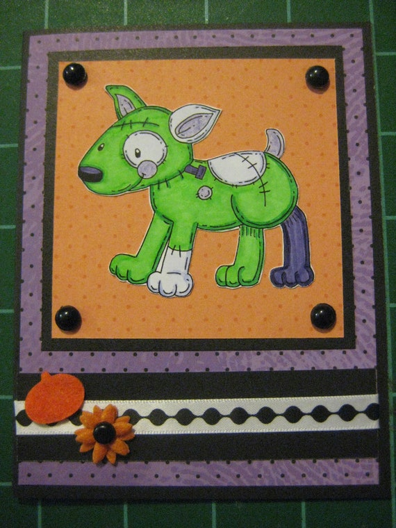 Frankenterrier's Monster: Set of 5 Halloween cards, bull terrier, jack russell, parsons russell