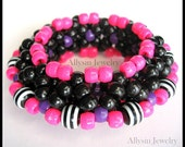 Striped Kandi Cuff Bracelet, 3D Disc Style, Neon Pink, Purple and Black, Rave Plur Jewelry