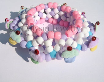 Kandi Cupcake Cuff, Kawaii Pastel Bracelet, 3D Disc Style, Fairy Kei, Pink Purple, Raver Plur