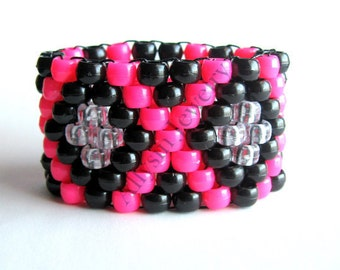 Kandi Cuff, Hot Pink, Black X Pattern, Rave Plur