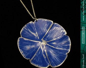 Deep Blue Morning Glory -- Upcycled Tin Necklace