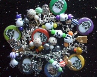 Colorful Skulls Skeleton Party - Day of the Dead or Halloween Charm Bracelet