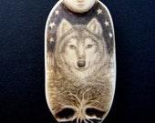 wolf spirit with full moon scimshaw technique resin pendant