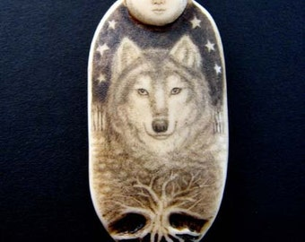 wolf spirit with full moon scimshaw technique resin pendant