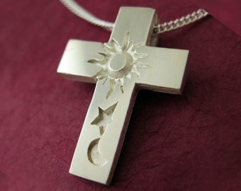 Modern Silver Cross, Couple Bible Jewelry - GENESIS CROSS Pendant with Chain, Spiritus Collection