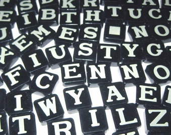 Vintage 1950s Black Plastic Anagram Game Pieces with Ivory Letters Set of 96