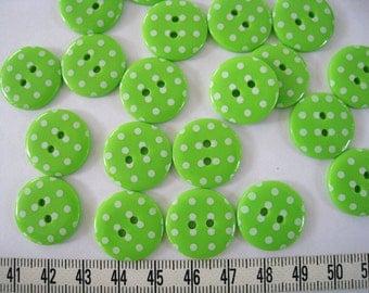 24pcs of  Bright Green Polka Dot  Button - 20mm