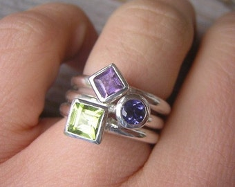 Peridot, Amethyst and Iolite Gemstone Stacking RIngs, Made To Order