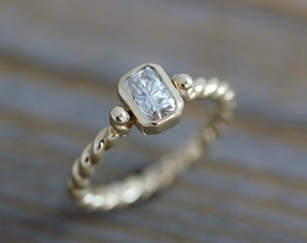 Ready To Ship Size 7, Moissanite Engagement Ring, A Diamond Alternative in Recycled 14k Yellow Gold