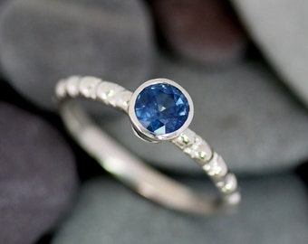 Blue Sapphire Gemstone Ring, September Birthstone Solitaire Ring in Recycled Sterling, Blue Stone Silver Ring