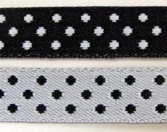 3 yards ELOISE Polka Dots Jacquard trim. REVERSIBLE. Black and white. 3/8 inch wide. 928-g