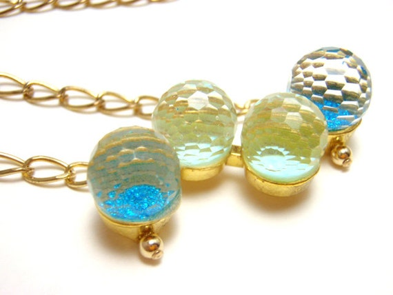 Blue Bubble Necklace - Sparkly aqua and blue glitter 3D bubble necklace on gold chain