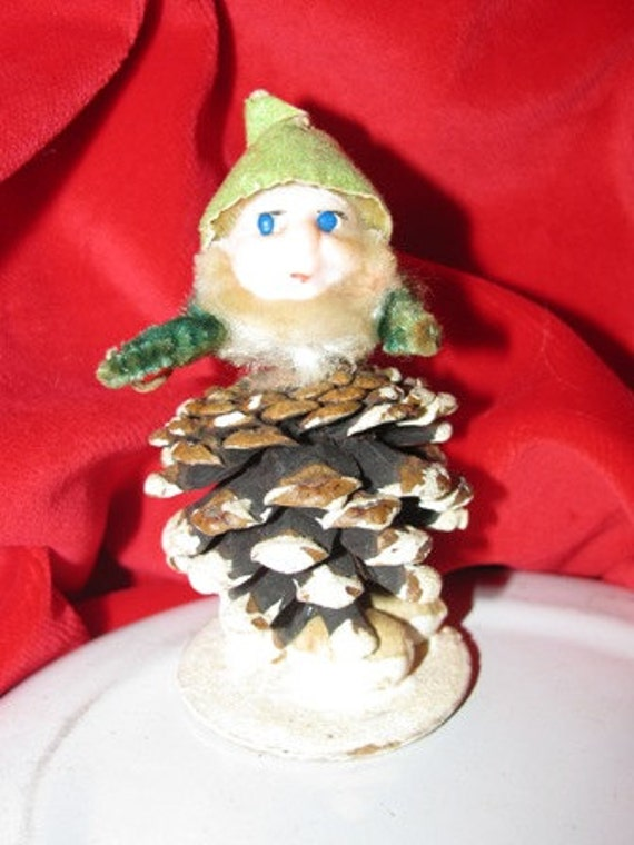 Christmas 1950's Japan X-Mas CHENILLE PINECONE ELVES Gnomes Figures, Elves, Elf, Pixies Pine Cone Elf Holiday classic 50's decorations