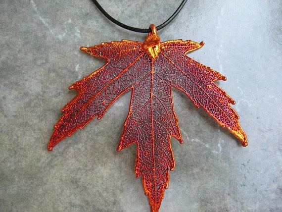 Real Leaf Pendant - Iridescent Copper - Silver Maple