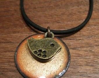 Bird Necklace, Persimmon Bird Jewelry, Orange Enamel Jewelry, Bird Pendant, Tangerine Necklace