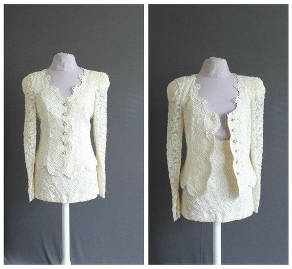 Vintage Wedding Dress / White Wedding Suit / 2 piece Lace Suit