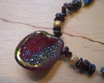 Insouciant Studios Cavern Necklace Garnet Lapis & Quartz